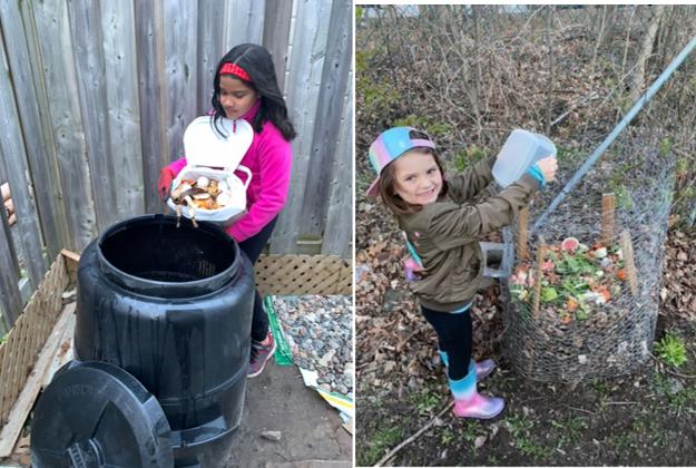 Compostage domestique: Enid d'Acreo de Madeleine de Roybon et la classe de Roxane Lachaine font du compostage domestique dehors.